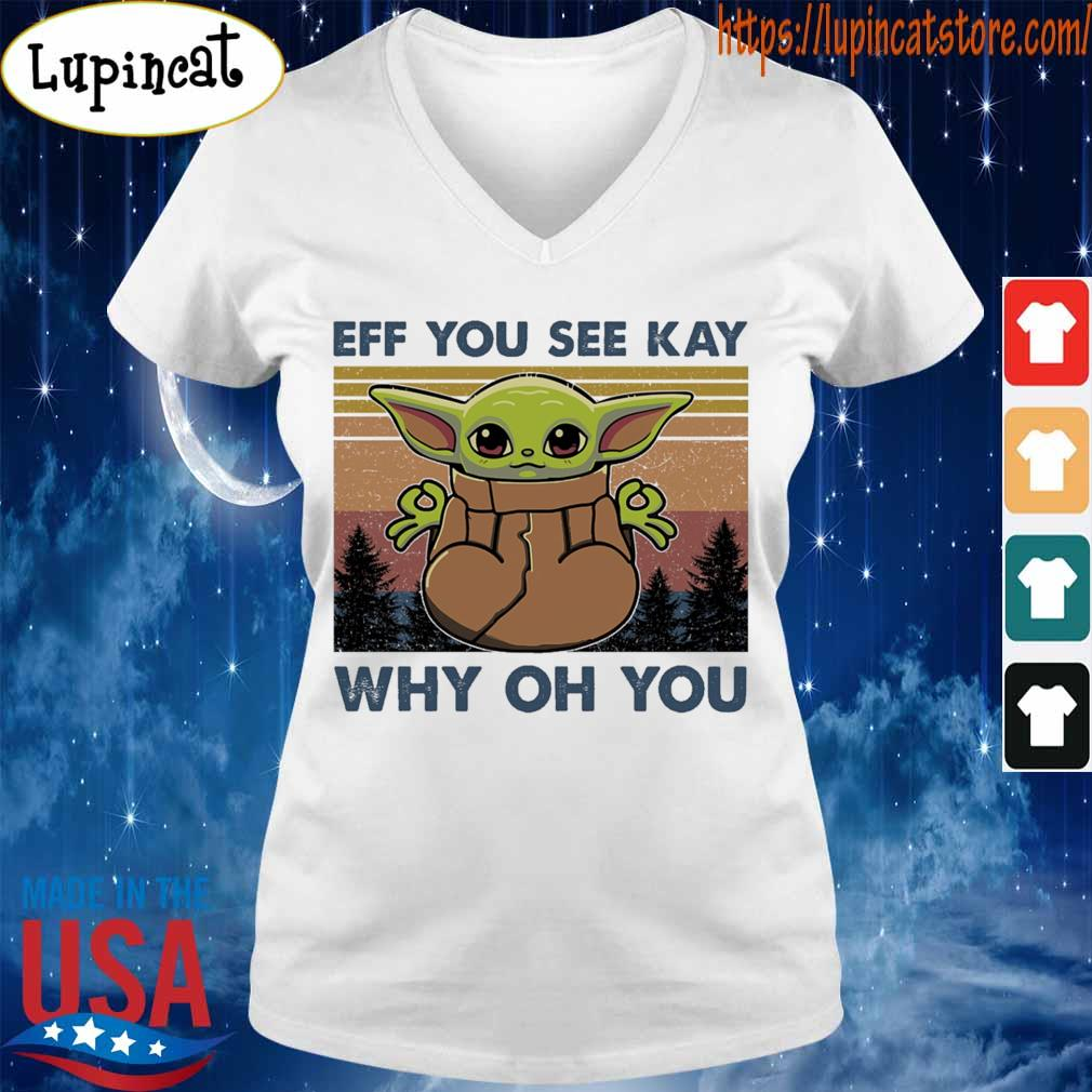 Baby Yoda yoga eff you see kay why oh you vintage s V-neck