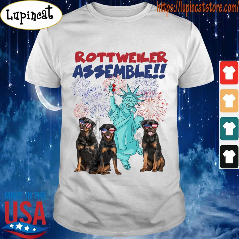 Rottweiler Assemble happy independence American shirt