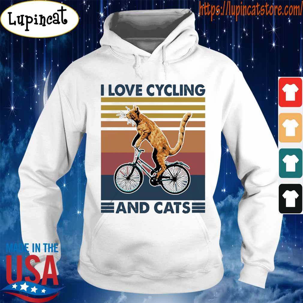 Cat i love cycling and cats vintage s Hoodie