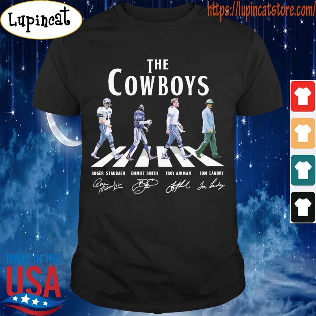 The cowboys Roger Staubach Emmitt Smith Troy Aikman Tom Landry signature shirt