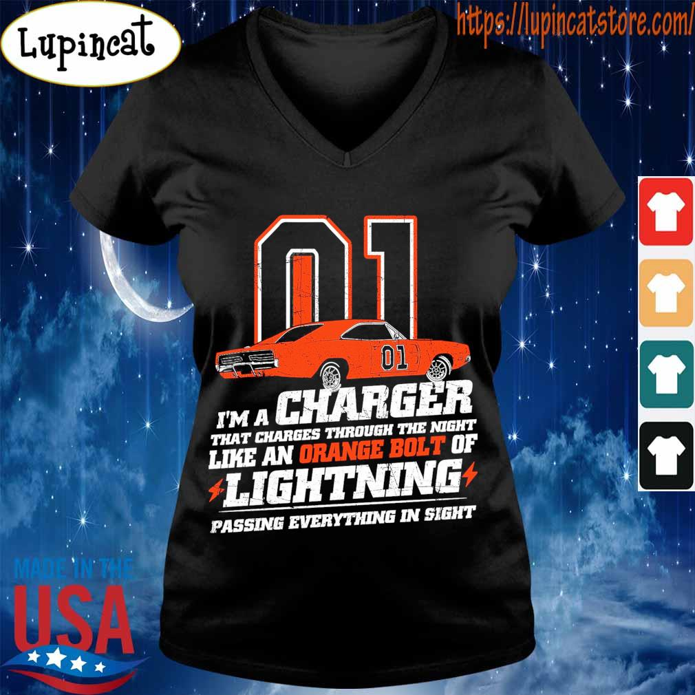 01 I'm a charger that charges through the night like an orange bolt of Lighting passing everything in sight s V-neck