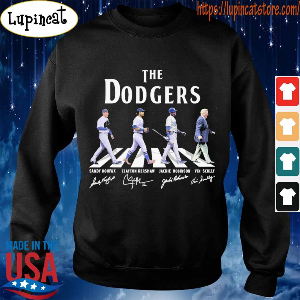 The Dodgers Sandy Koufax Clayton Kershaw Jackie Robinson Vin Scully signatures road s Sweatshirt