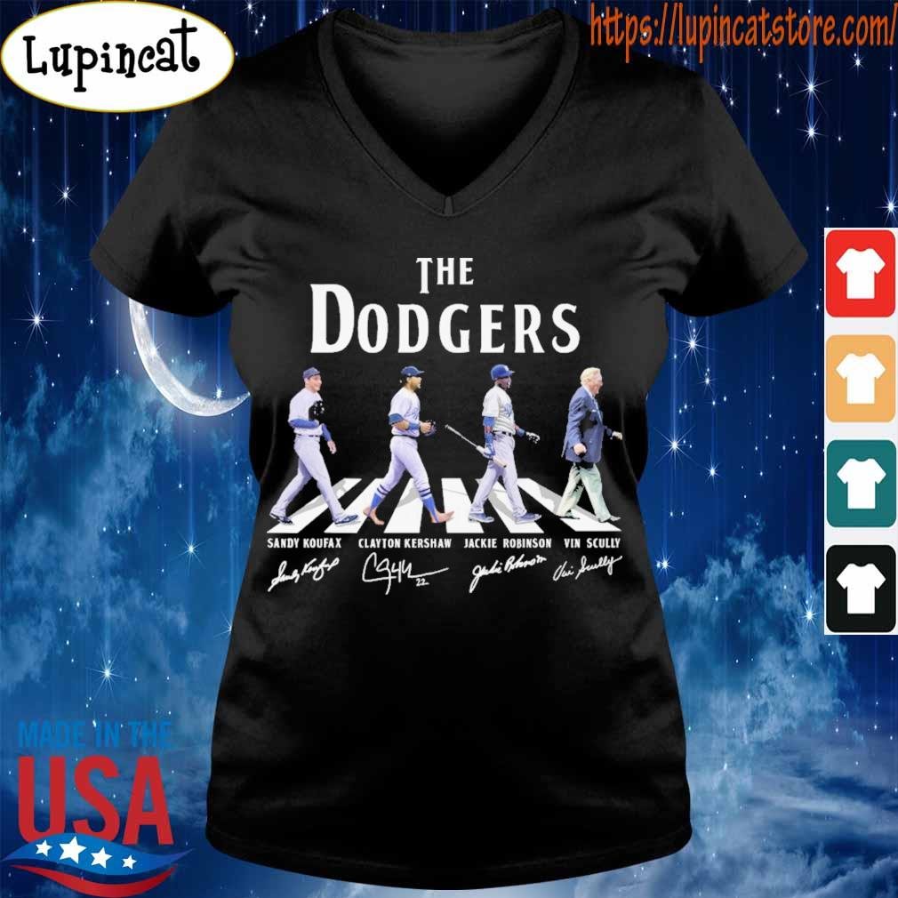The Dodgers Sandy Koufax Clayton Kershaw Jackie Robinson Vin Scully signatures road s V-neck