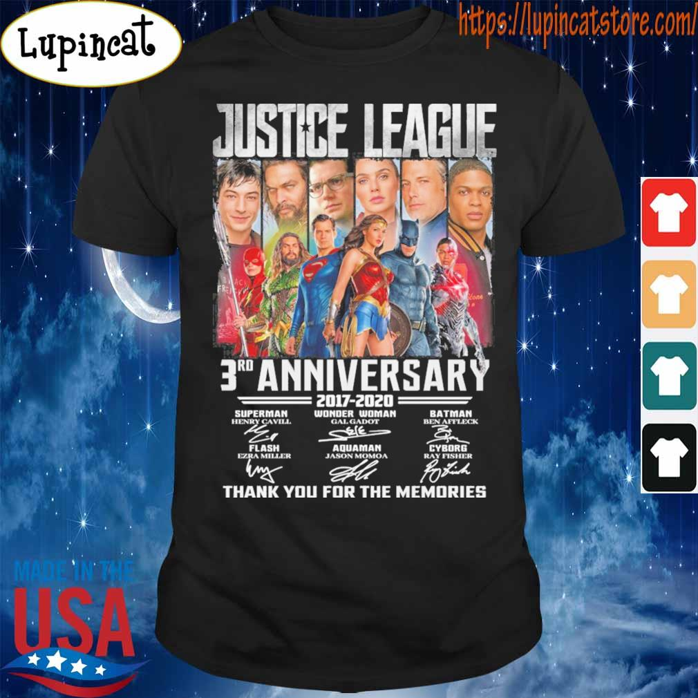 Justice League Superheroes DC 3rd anniversary 2017 2020 thank you for the memories signatures shirt