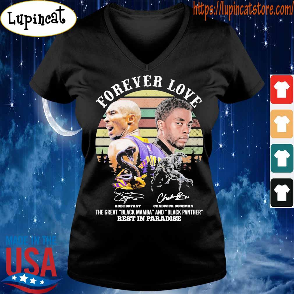Kobe Bryant and Chadwick Boseman forever love rest in paradise signatures vintage s V-neck