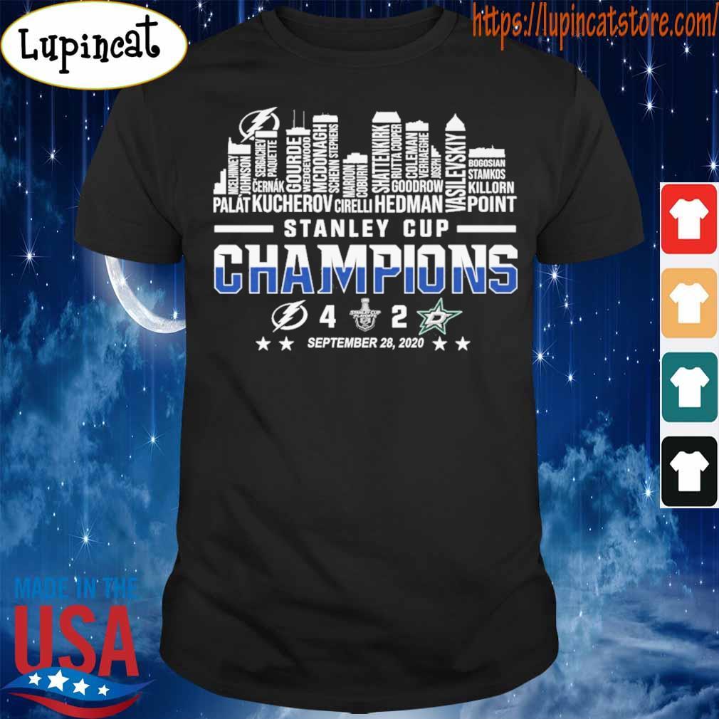 Tampa Bay Lightning vs Dallas Stars Stanley Cup Champions 4 20 september 28 2020 shirt