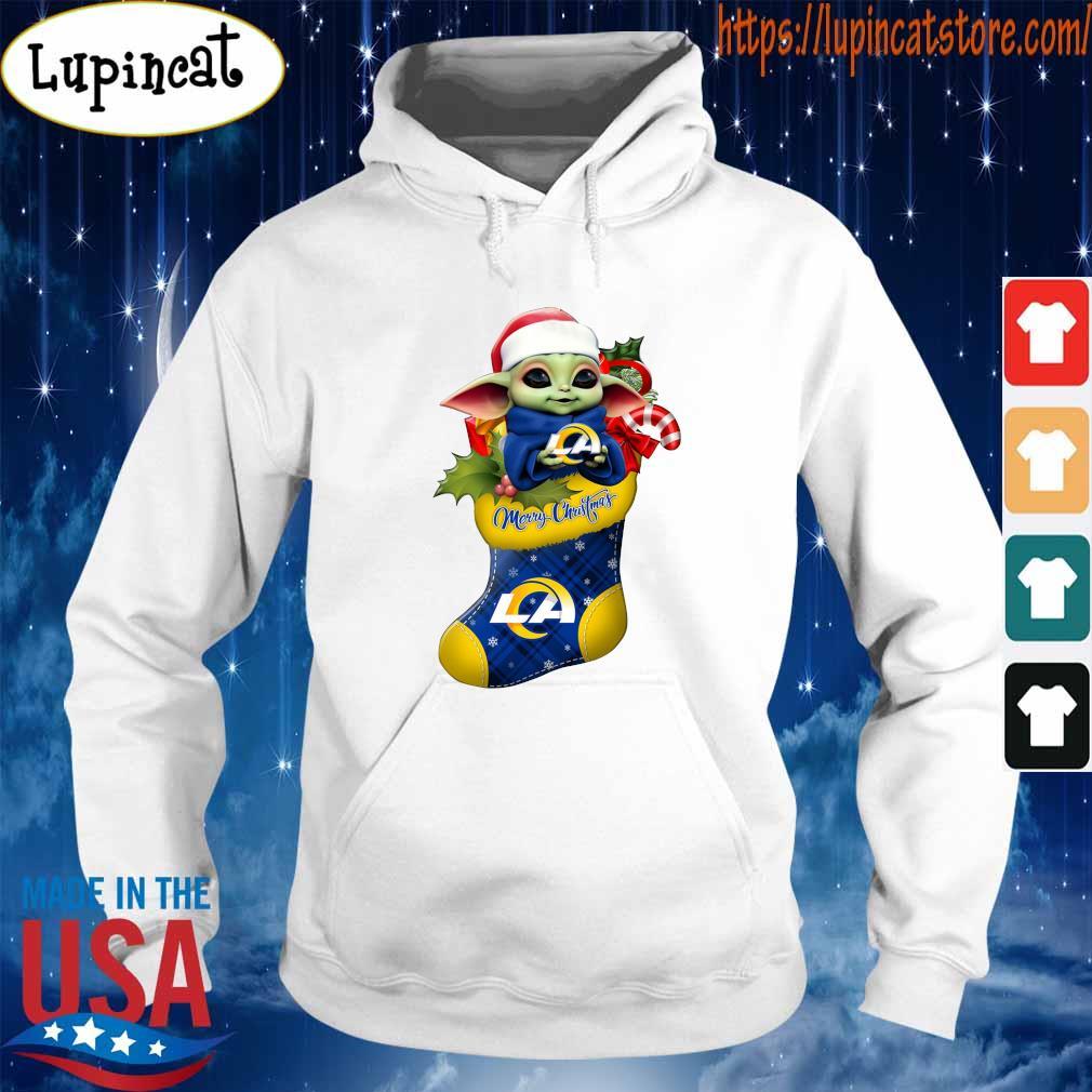 Baby Yoda Hug Los Angeles Rams Ornament Merry Christmas 2020 Shirt Hoodie