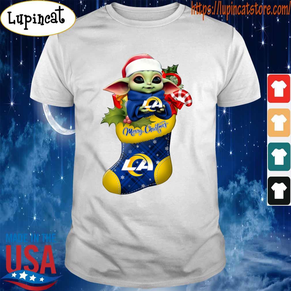Baby Yoda Hug Los Angeles Rams Ornament Merry Christmas 2020 Shirt