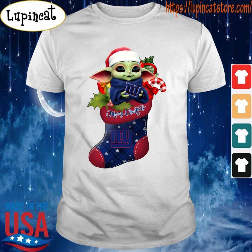 Baby Yoda Hug New York Giants Ornament Merry Christmas 2020 Shirt