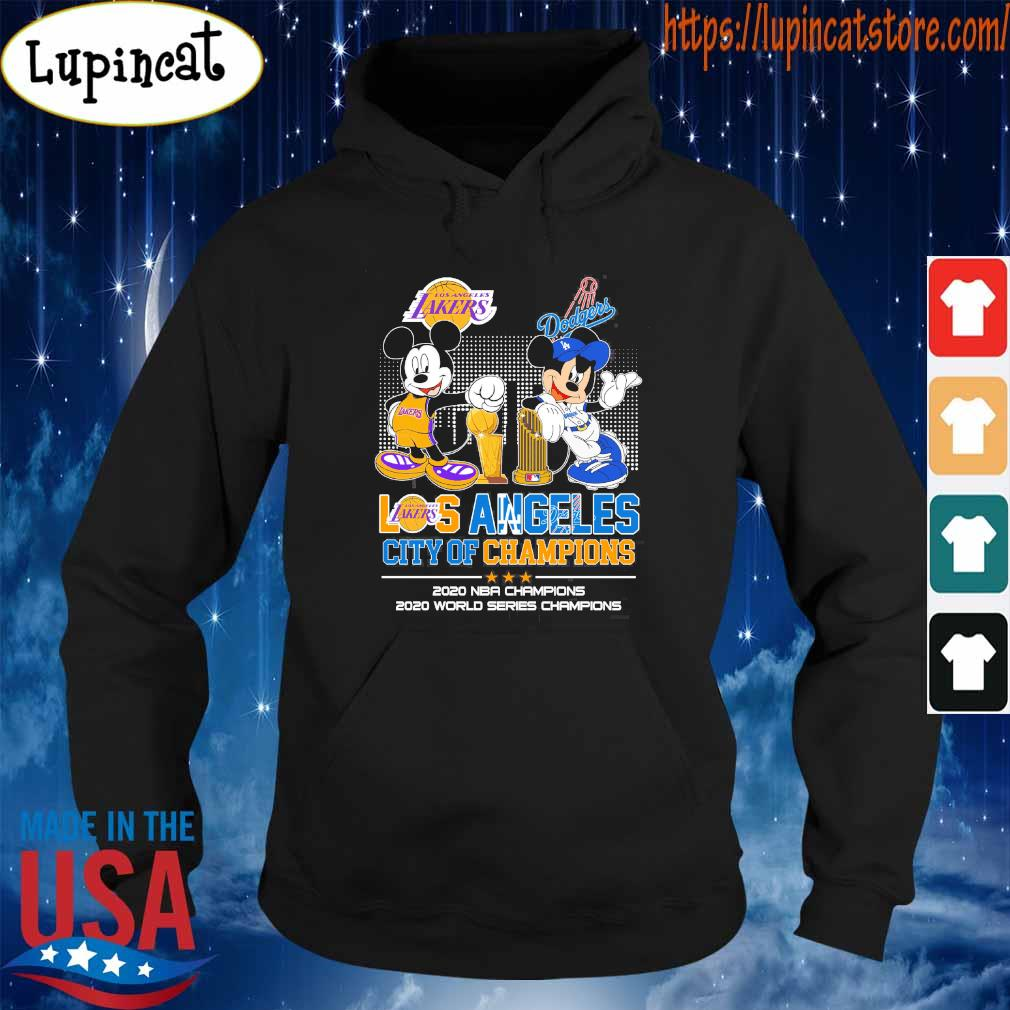 Mickey Mouse Disney Love LA Lakers and Dodgers city Champions 2020 s Hoodie