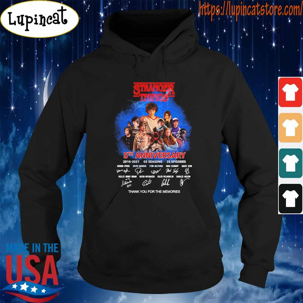 Official Stranger Things 5th anniversary 2016 2021 03 Season 25 Episodes thank you for the memories signatures s Hoodie