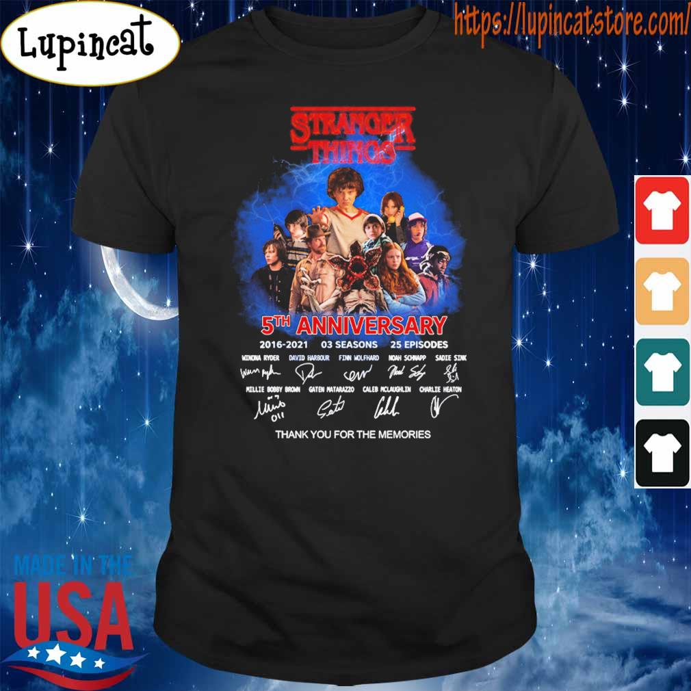Official Stranger Things 5th anniversary 2016 2021 03 Season 25 Episodes thank you for the memories signatures shirt