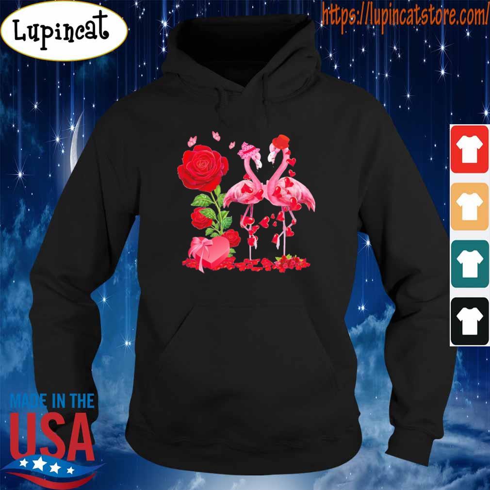 Flamingo Roses Valentine heart s Hoodie