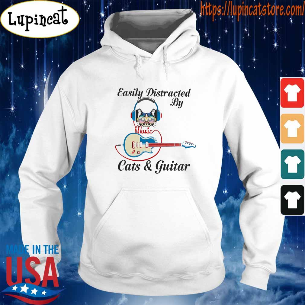 Official Easily Distracted By Music Cats and Guitar s Hoodie