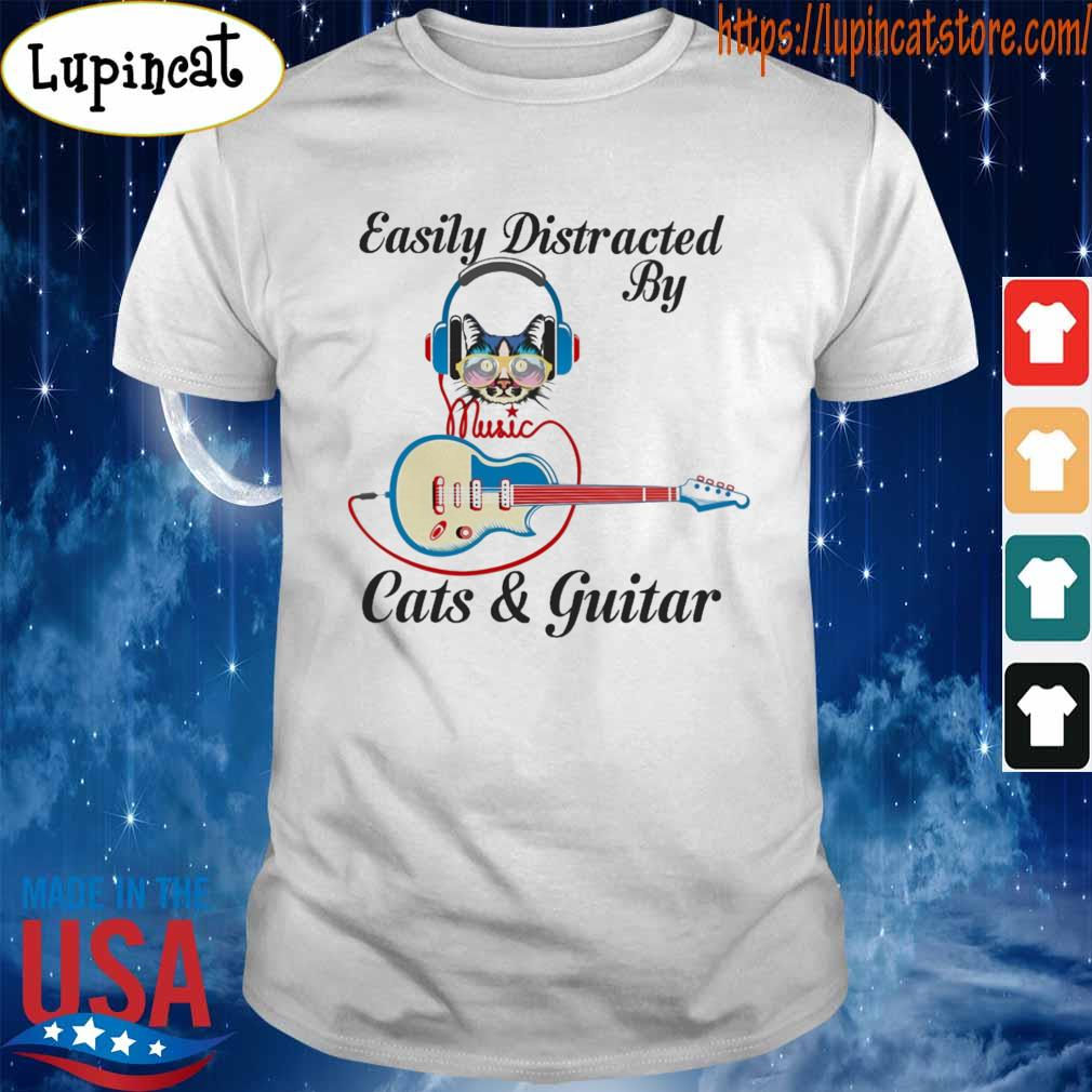 Official Easily Distracted By Music Cats and Guitar shirt